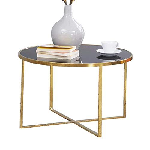 ZRXian-Kaffeetische Moderner runder Couchtisch aus Glas, gebürstete Edelstahl-X-Base-Goldleiste für den Wohnbereich, Ablagetisch aus gehärtetem Glas, 69 x 42 cm