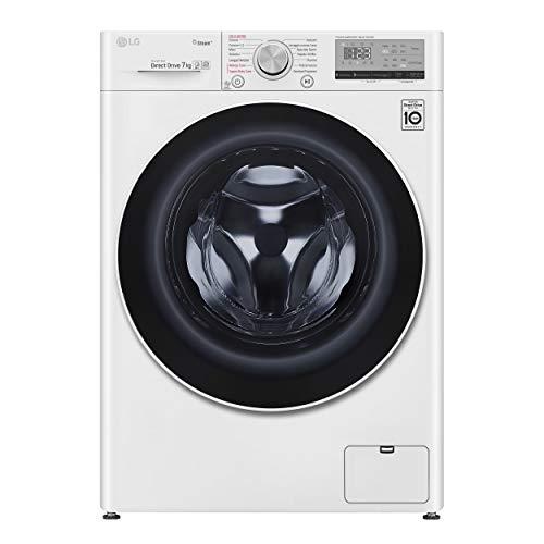 LG F2WV4S7S0E Smart Waschmaschine mit Frontlader, 7 kg, freie Installation, 1250 U/min, künstliche Intelligenz AI DD, Dampffunktion, Bullauge aus gehärtetem Glas, WLAN, 60 x 45,5 x 85 cm, weiß