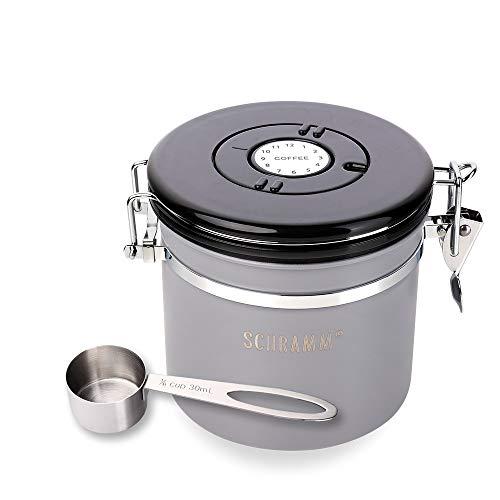 Schramm® Lata de café 1200 ml en 10 colores con cuchara dosificadora Altura: Lata de café de 12cm Contenedor de café de acero inoxidable, Farbe:grau