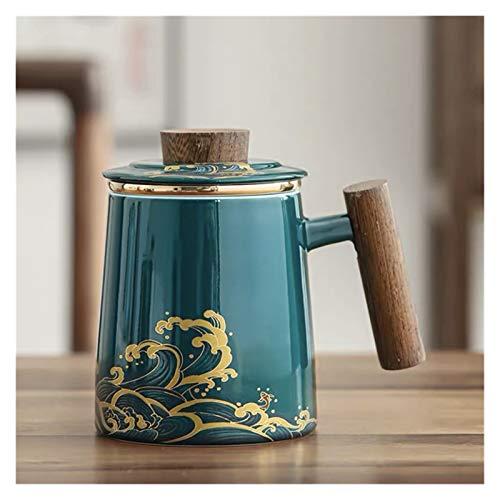 JSJJRGB Taza de Agua Taza de té de cerámica con Tapa y Filtro Copa de separación de té de Porcelana Creativa Taza de Gran Capacidad Taza de café Taza de café (Color : A)