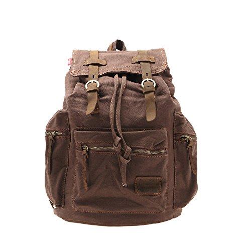 Vintage Mens Canvas Backpack Camping Travel Hiking Bag Sports Rucksack Schoolbag Coffee