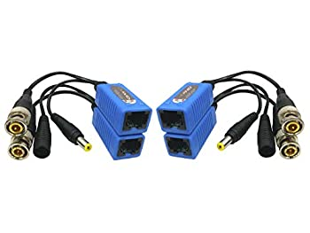 AimHD 2 Pair BNC to RJ45 Passive Video Baluns with Power for 1080P - 8MP Upgrading CCTV Home Security Surveillance Camera Cat5e Video Power Transmission System