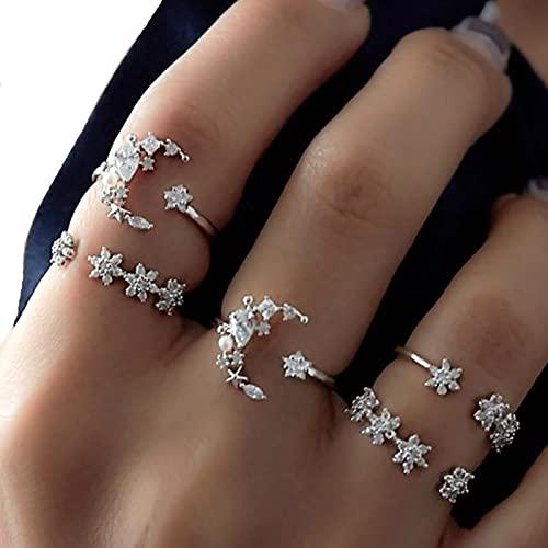 QFSLR 5 Piezas Apilables Anillos para Mujer Bohemia Diamante De Imitación Luna Joyería De Playa para Mujeres Niñas,Plata