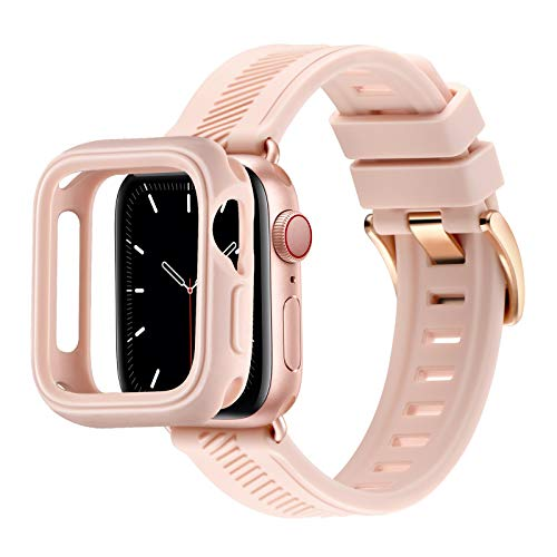 RTYHI Correa de silicona compatible con Apple Watch, 44 mm, 40 mm, 42 mm, 38 mm, silicona suave, correa de repuesto para iWatch Series 6/SE/5/4/3/2/1 (42 mm, 44 mm, color rosa arena/oro rosa)