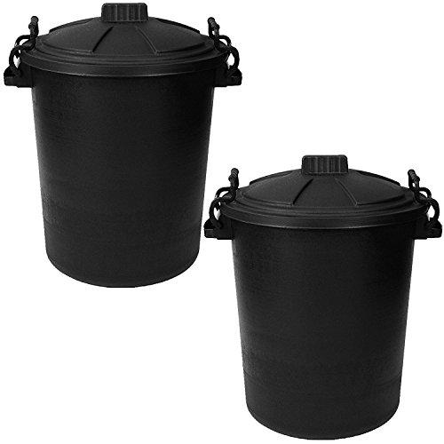 Srendi 2 x 50L LITRE BLACK BINS DUSIT BIN/GARDEN Large Black Plastic Dustbin Garden Storage Unit Bin Clip On Locking Lid Heavy Duty for Rubbish Waste Animal Feed