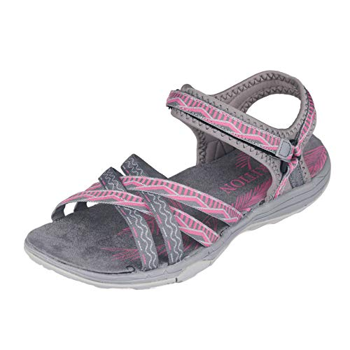 GRITION Frauen Wandern Sandalen, Damen Outdoor Sport Wasser Schuhe Sommer Flach Cross-Tied Beach Sandalen Open Toe Verstellbare klettverschlussWalking Schuhe Schwarz (EU 37, Grau/Pink)