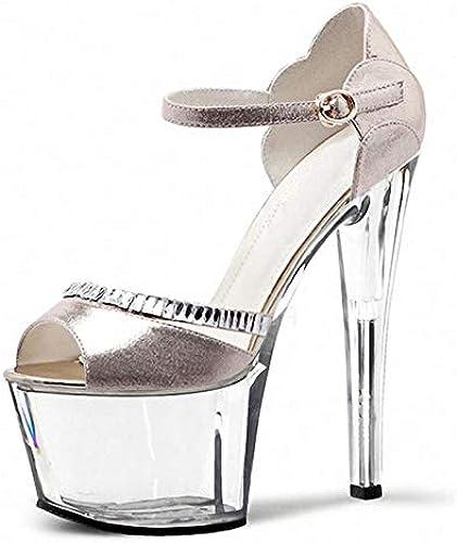 QAZ Talons Hauts Femmes, 17cm Sexy Stiletto Sandales Discothèque Performance étape Femmes Chaussures Imperméable Plate-Forme Modèle Catwalk