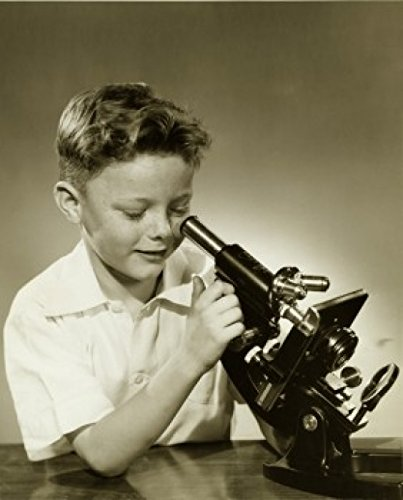 Close-up of a boy looking through a microscope Poster Print (18 x 24)