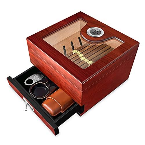 Flauno Handcrafted Humidor Cigar Box - Cedar Wood Cigar Humidor with Accurate Digital Hygrometer   Humidifier & Accessory Drawer   Holds 25-50 Cigars   Keeps 65% - 70% Humidity