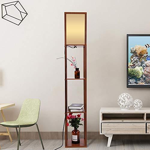 Gototo staande lamp met voet van hout en stof met plank voor het opbergen van moderne vloerlamp voor woonkamer slaapkamer kantoor hals, hoogte: 160 cm