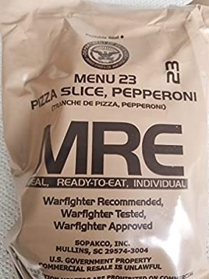 LoJo Surplus 2021 Genuine Military MRE Meals Ready to Eat with Inspection Date 2021 or Newer (Pizza Slice, Pepperoni)