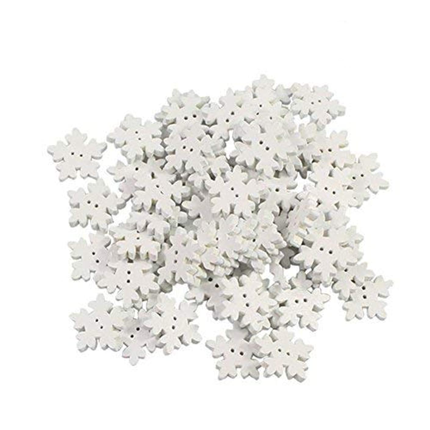Velidy 100Pcs Wooden Snowflake Buttons White Mini Buttons Decoration for DIY Scrapbooking Craft