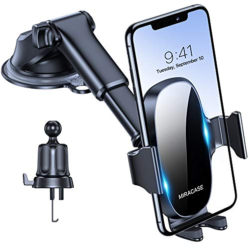 Miracase 4-in-1 Cell Phone Holder for Car, Universal Car Phone Holder Mount for Dashboard Air Vent Windshield Compatible with iPhone 11 Pro Max/SE/XR/8 Plus/Samsung S20 Ultral/Note 10 & All Phones