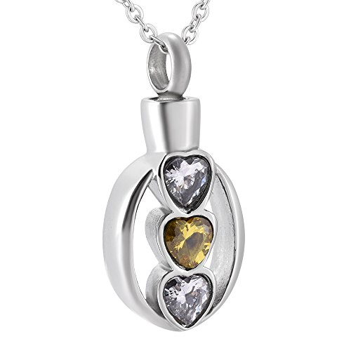 SS9105 Three Love Heart Oval Memorial Necklace Cremation Ashes Keepsake Urn Pendant Necklace Wholesale (Crystal)