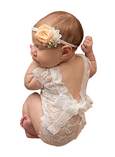 Newborn Baby Girls Photography Props Photo Shoot Outfits Lace Romper (White)