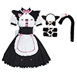 Woman's cat Ear Maid Outfit Cosplay Sissy Plus Size Lolita Dress Men Fashion Gothic Dresses (M, Pink-Long)