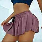 HJKLL Keiki Kona Shorts, Womens 2in1 Flowy Fitness Shorts, Ruffle Soft Double Layer Yoga Workout Casual Shorts L Violet