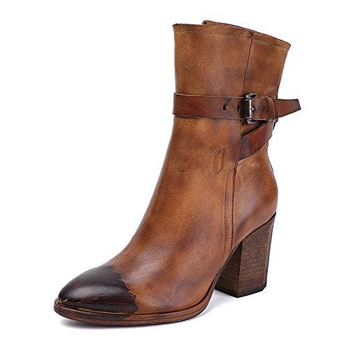 DENGSHENG SHOPS Spitzen Damen High Heels Retro Lederstiefel in der Tube Damenstiefel Apricot Coffee Farbe 35-40