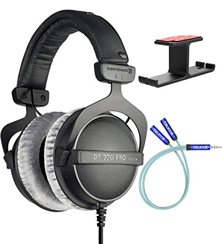 Beyerdynamic DT 770 PRO 250 Ohm Closed-Back Studio Mixing Headphones Bundle with Blucoil Aluminum Dual Suspension Headphone Hanger, and Y Splitter for Audio and Mic