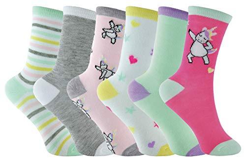 Sock Snob 6 Pares Niña Vestido Algodon Colores Calcetines con Unicornio Dibujos (37-39 EU, Rosado)