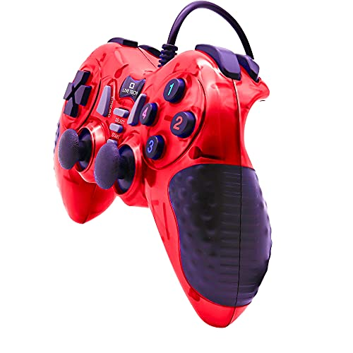 Live Tech Gamepad Wired USB PC Controller Dual Shock Supports Windows7/W8/W10 with 1.8M Cable Turbo Double Vibration Motor USB Wired Gamepad Versatile Controls (Shout-Red)