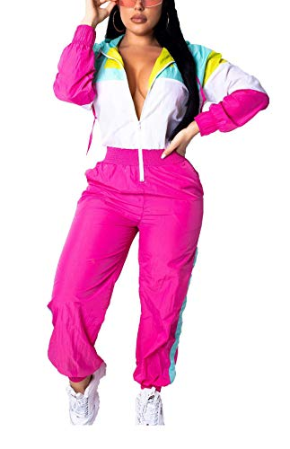 Women's One Piece 80s Outfit, Windbreaker Jumpsuit, S to XL