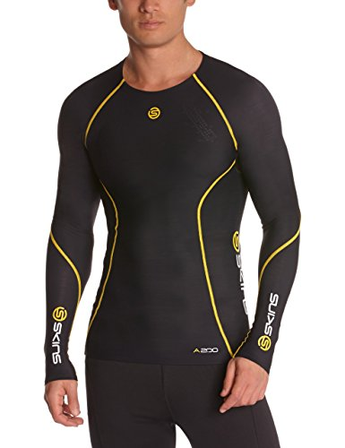 SKINS A200 Mens Top Long Sleeve Black/Yellow Manches Longues de Compression Homme, Noir/Jaune, FR : S (Taille Fabricant : S)