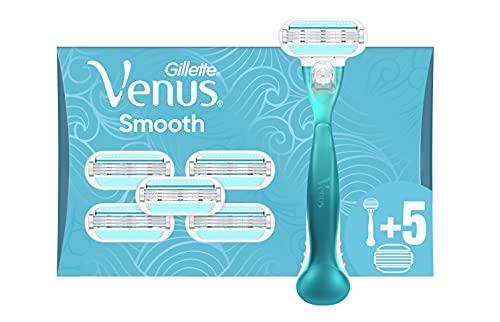 Gillette Venus Smooth Rasierer Damen, Damenrasierer mit 6 Rasierklingen, 3 Klingen mit Schutzkissen, aktuelle Version