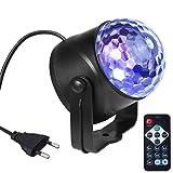 AUELEK - Bola de discoteca LED, 6 W, 7 colores, activada con mando a distancia, efecto de luz, bola de discoteca, iluminación de escenario, fiesta,...