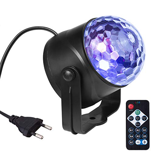 AUELEK - Bola de discoteca LED, 6 W, 7 colores, activada con mando a distancia, efecto de luz, bola de discoteca, iluminación de escenario, fiesta, decoración [clase energética A]