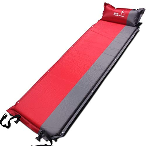 Outdoor activities, self-driving travel, single-person automatic air mattress, outdoor camping fishing beach mat, camping mat (Color : Red)
