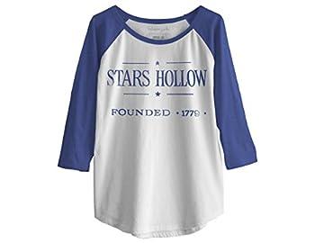 Ripple Junction Gilmore Girls Vintage Stars Hollow Junior Baseball Raglan 3/4 Sleeve Large White/Blue