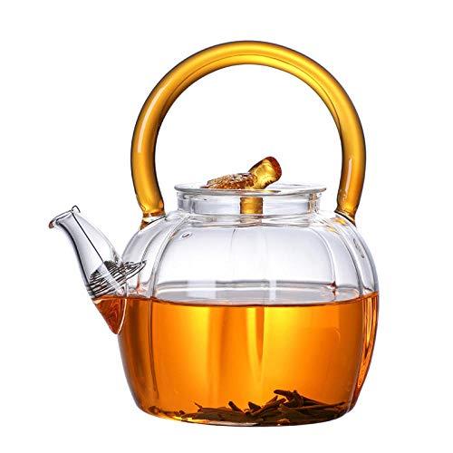 RXQCAOXIA theepot van glas voor één persoon, met zeef van roestvrij staal, hittebestendig, ideaal voor thee en koffie