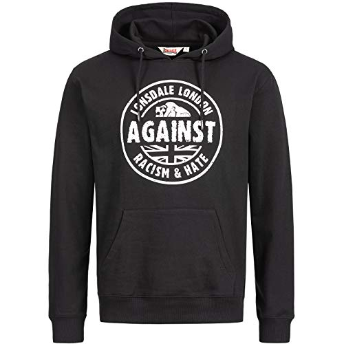 Lonsdale Mens LINFORD Hooded Sweatshirt, Black, Extra Large