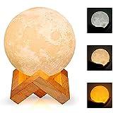 HEAWAA LED Mond Lampe - 10cm 3D Mondlicht mit Touch Sensor, 3 Farbe Auswählbar und dimmbar Nachtlicht, USB Wiederaufladbar als Deko und Geschenke, 12.5um Oberflächengenauigkeit