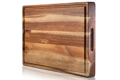 PREMIUM ACACIA Cutting Board & Professional Heavy Duty Butcher Block w/Juice Groove - Extra Large (17