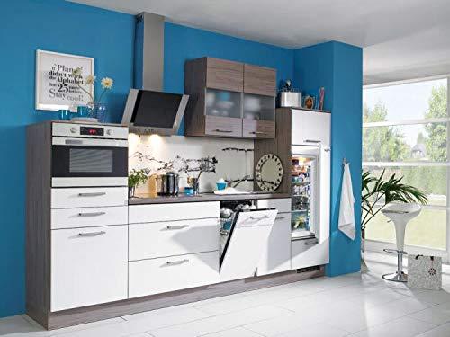 RASANTI Einbauküche Cindy 240 / Celine 134 inkl E-Geräte 300 cm von Burger Moonlight Grey/Anthrazit Betonoptik