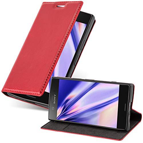 Cadorabo Hülle für Sony Xperia Z1 COMPACT - Hülle in Apfel ROT – Handyhülle mit Magnetverschluss, Standfunktion & Kartenfach - Hülle Cover Schutzhülle Etui Tasche Book Klapp Style