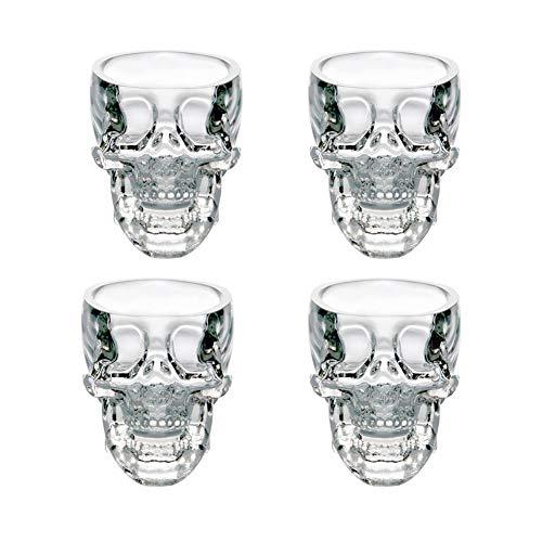 Verres à Whisky Design Tete de Mort pour 75ML*4 en Verre Cristal Transparent, Cocktail Vodka en Forme de Crâne de Mort, Idéal comme Cadeau, Décoration de noël