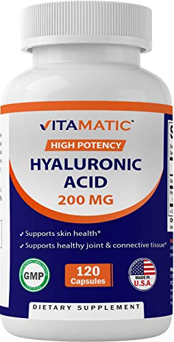 Vitamatic Hyaluronic Acid Supplements 200mg - Supports Healthy Connective Tissue and Joints - Promote Youthful Healthy Skin - 120 Capsules
