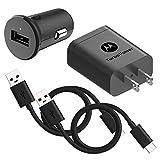 Motorola Essentials USB-C Turbo Charge Bundle: TurboPower 18 USB C Car Charger + TurboPower 18 Charger + 2 Type C 3.3ft Cables for Moto Z, Z2, Z3, Z4, X4, G7, G6,G6 Plus [Not for G6 Play] (Retail Box)
