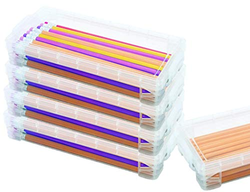 1InTheoffice Pencil Box, Stackable Translucent Clear 8.25 x 1.5 x 4 Inches, (4 Pack)