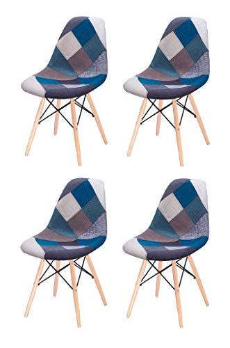 Meubletmoi set van 4 stoelen, van polypropyleen, poten van beukenhout, comfort en robuustheid, retro collectie Modern design Blauwe patchwork
