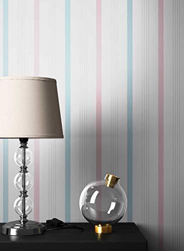 NEWROOM Tapete Streifen Weiß Streifen Linien Modern Vliestapete Rosa Vlies Streifentapete Landhaus inkl. Tapezier Ratgeber | Streifentapete