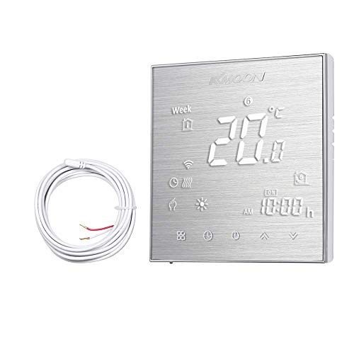 KKmoon thermostaat voor elektrische verwarming met vloer, AC 95-240 V, 16 A, LCD-display voor elektrische verwarming, vloer en luchtbesparend type 2 with WiFi Brushed Aluminium