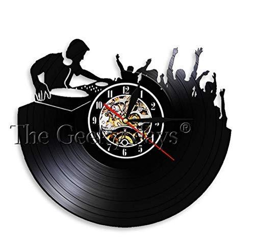 ZZNN Schallplatte Wanduhr Lustiges Sprichwort Bleib 'ruhig Ich Bin Dj Wandkunst Wanduhr Dj Mixer Spinning Schallplattenspieler Plattenspieler Hip Hop Schallplattenuhr, 12 Zollcjdfn961