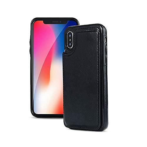 iPhone XsMaxケース背面手帳型 アイフォンXsMaxケース背面手帳型? iPhoneXsMax case カバー カード入れ マグネットボタン スタンド機能 PUレザー TPU 軽量 便利 (ブラック)
