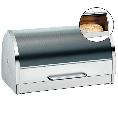 WMF Gourmet Brotkasten 39 x 21 x 20 cm, Brotbox mit Klappdeckel aus Glas, Brotdose, Cromargan Edelstahl mattiert
