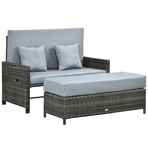 Outsunny Polyrattan Lounge-Sofa Gartensofa Gartenliege 2-Sitzer mit Kissen Hocker Grau