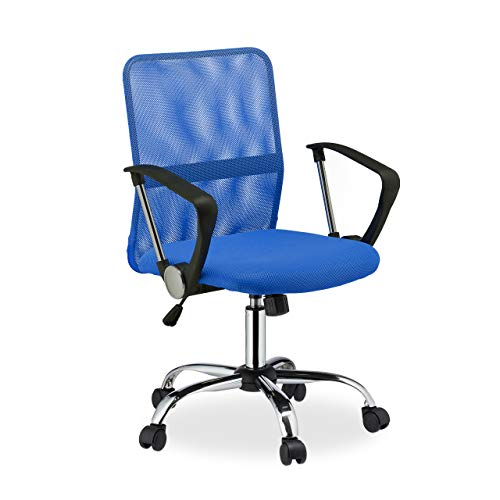 Relaxdays Bürostuhl, 360° drehbar, höhenverstellbar, ergonomisch, 120 kg belastbar, Netzstoff, HBT 101x62x62 cm, blau